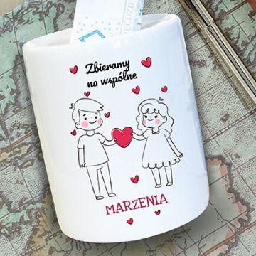 Skarbonka ceramiczna w serca dla pary