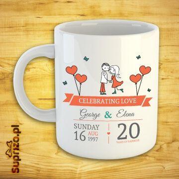 Kubek dla pary w serca z imionami i datą do wpisania (personalizacji)