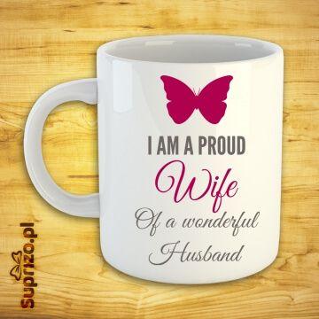 Kubek z napisem i motylem dla żony