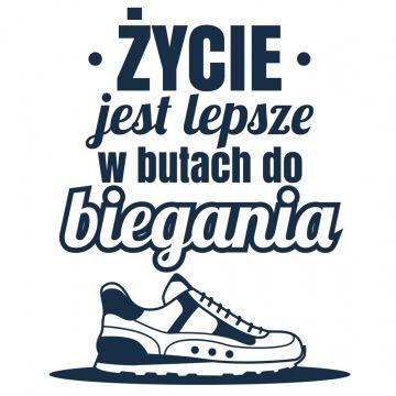Kubek biegacza ze śmiesznym napisem i butem