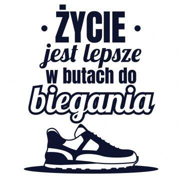 Koszulka biegacza ze śmiesznym napisem i grafiką buta